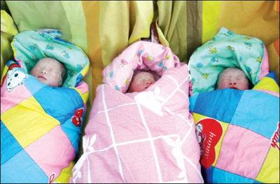 29岁村妇顺产龙凤三胞胎 其家族有双胞胎遗传史