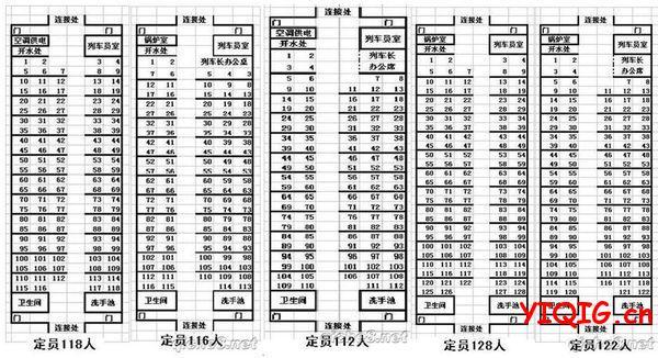 火车车厢座位分布图