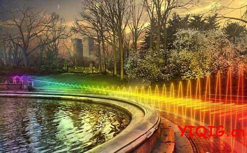 WiFi信号频谱笼罩下的五彩城市